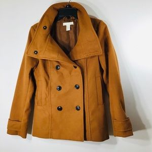 H&M Pea Coat camel color size 6